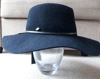 Seeberger 100% Wool Hat Long Brim Cloche - Black