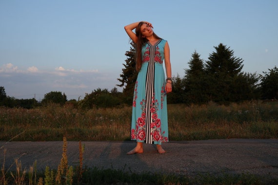 70s Maxi dress with stripes and flowers, M,38