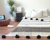 Moroccan pompom blanket, Moroccan Hand loomed Pom Pom blanket, Berber Thrwo, Wool Blanket, Bedcover,Sofa Throw, Sofa cover , CB020