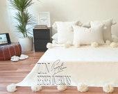 Wool Moroccan pom pom blanket, Moroccan Hand loomed Pom Pom blanket, Berber Thrwo, Wool Blanket, Bedcover,Sofa Throw, Sofa cover , CB01