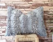Gray Moroccan Wedding Cushions, handira cover pillows, Moroccan Pillow, Moroccan Wedding Blanket Cushion, Kilim cushion,