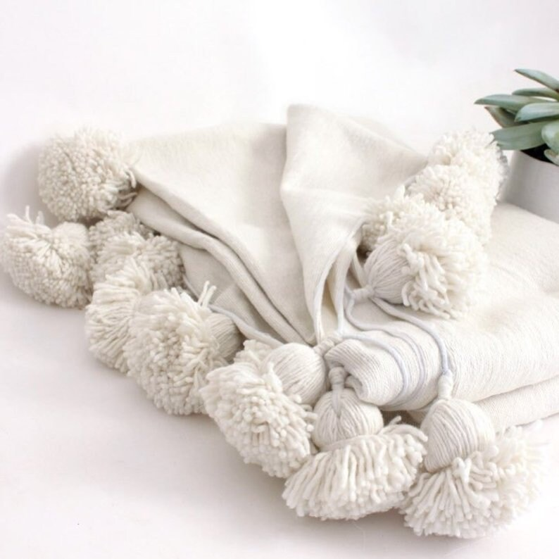 Set of 2 Moroccan pompom Pillows adorned with oversized pompoms on top and bottom fringe,bedcover pom pom blanket