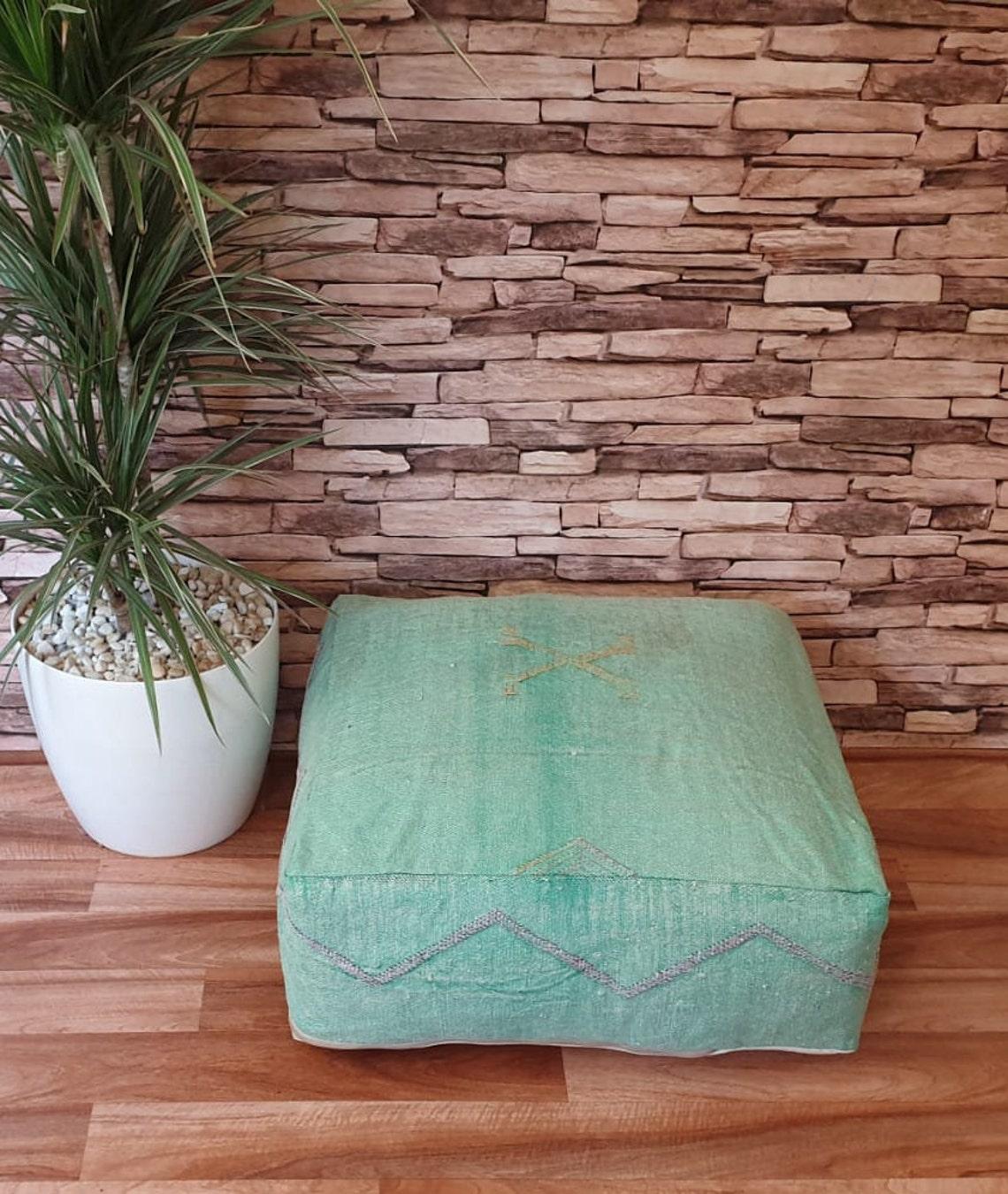 Handwoven Moroccan Sabra floor pouf, Cactus silk pouf,Handmade berber Pillow, Pillow cover,bed pillow, Floor Cushions,20