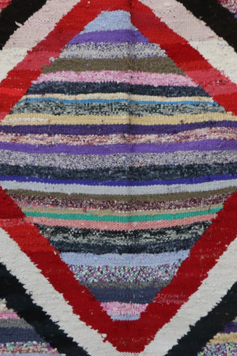 3x7 Kilim Boucherouite Boho Recycled Eco Carpet Colorful Kilim Rug Marrokanishe Teppiche Tapis Kilim Marocain Neuf Ethnic Chic Style Design