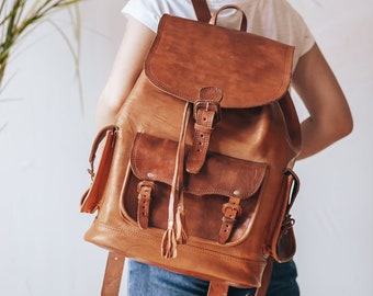 3be3f86aca Brown Leather Backpack Leather Shoulder Bag Purse Backpack Cognac Rucksack  Leather Purse Bag Cognac Women s handbag Leather bag