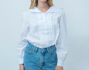 fa9a337d vintage white lace collar blouse medium | 80s victorian cotton blouse | peter  pan collar sailor blouse | romantic blouse | puff sleeve shirt