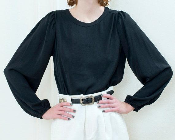 90s black silk puff sleeve blouse | big mutton sle