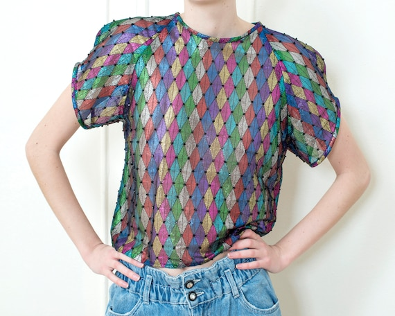 80s metallic beaded rainbow print blouse | diamond