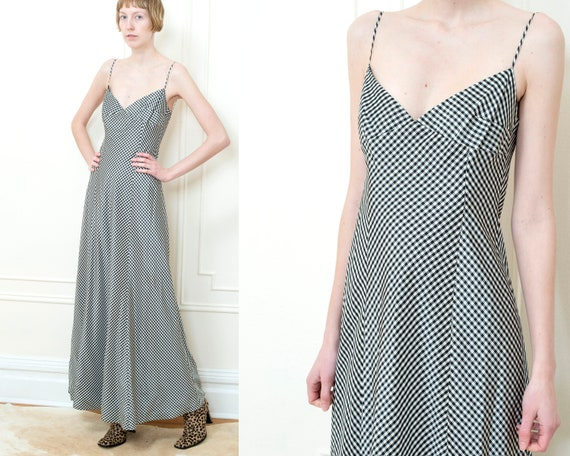 90s satin gingham black and white floor length gow