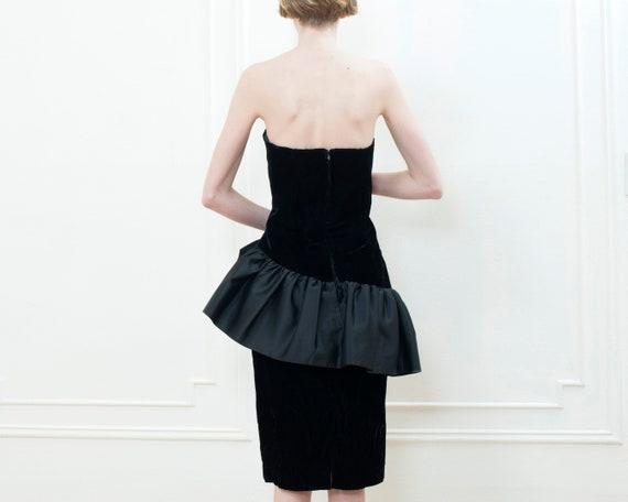 80s black party dress   velvet ruffle peplum cock… - image 5