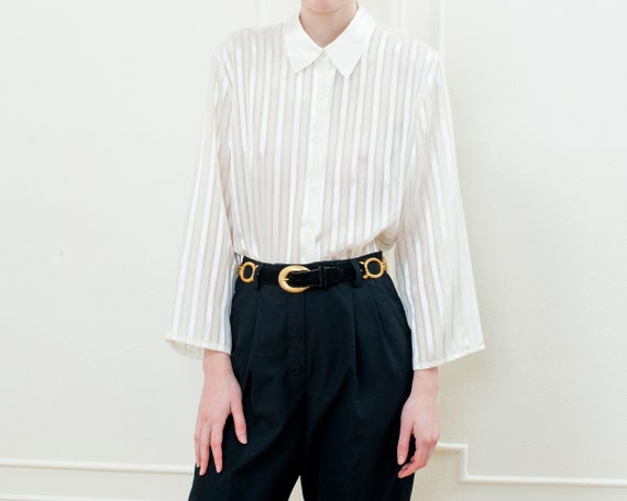 80s white striped sheer puff sleeve blouse | large