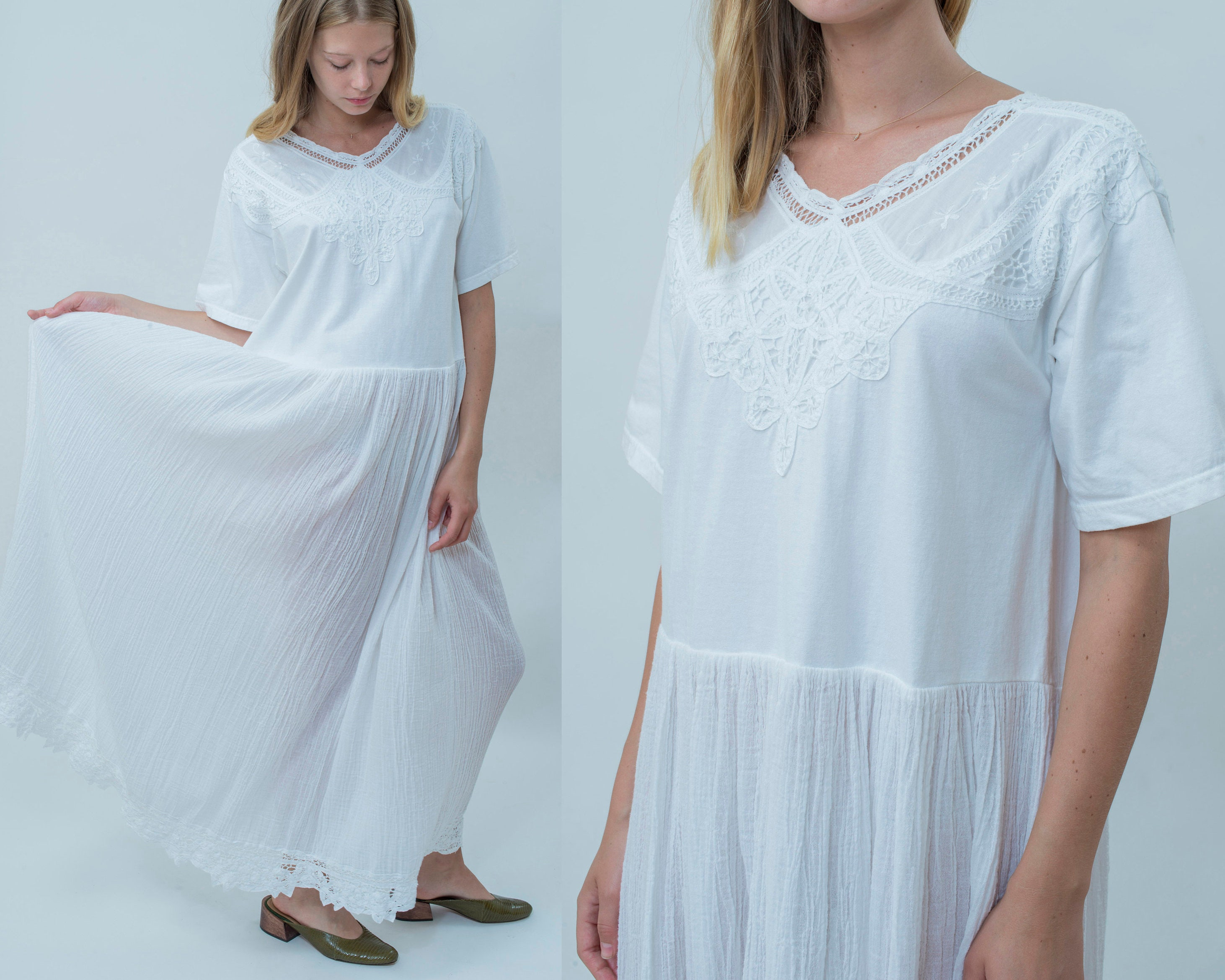 80s white cotton floral maxi dress crochet sundress medium etsy