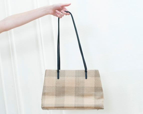 90s woven straw plaid shoulder bag | woven raffia