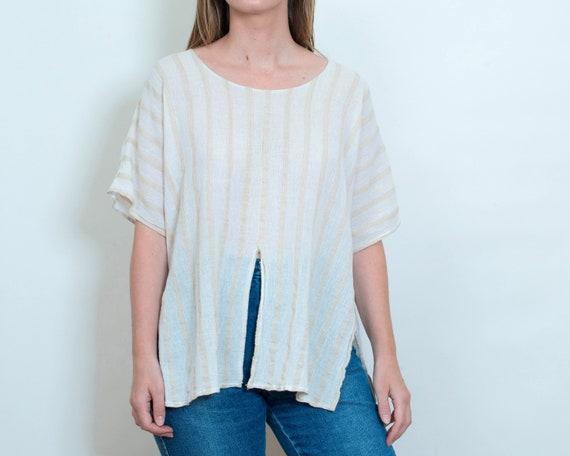 d6bf0158915035 70s white sheer striped blouse medium linen gauze tan stripe | Etsy