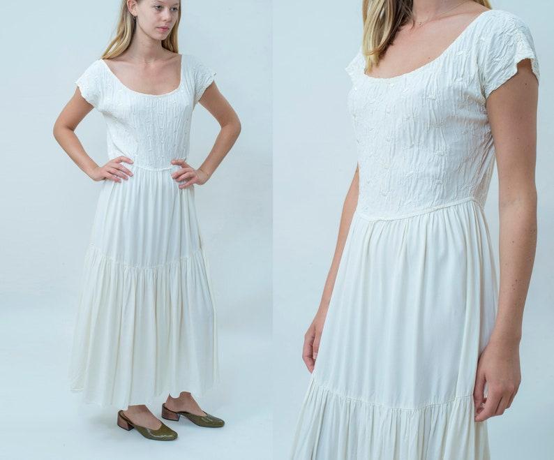 591096604e3 90s white vintage victorian maxi dress medium long prairie