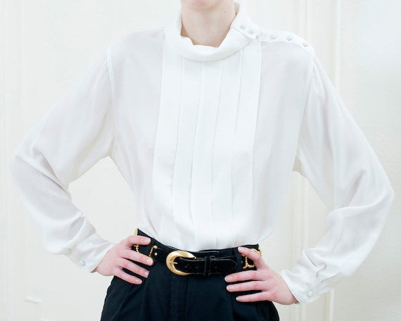 80s white high neck pleated puff sleeve blouse | … - image 6