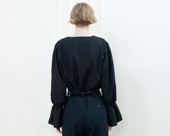 90s black bell puff sleeve blouse | minimalist v … - image 4