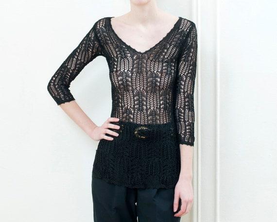 90s black sheer crochet blouse small | bohemian cr