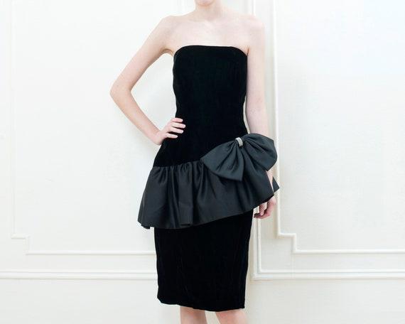 80s black party dress | velvet ruffle peplum cockt