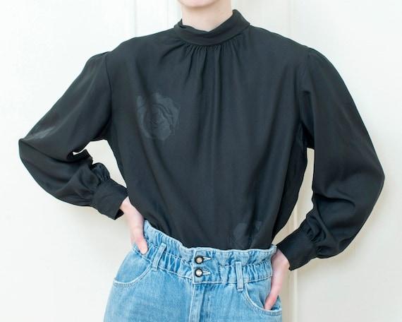 80s black puff sleeve blouse | large dramatic bow