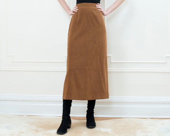 90s brown maxi skirt | 27 waist light brown high w