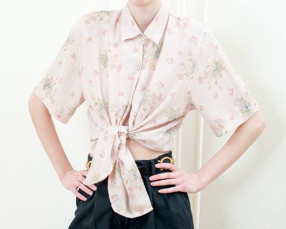 80s pink sheer floral blouse   large flower print