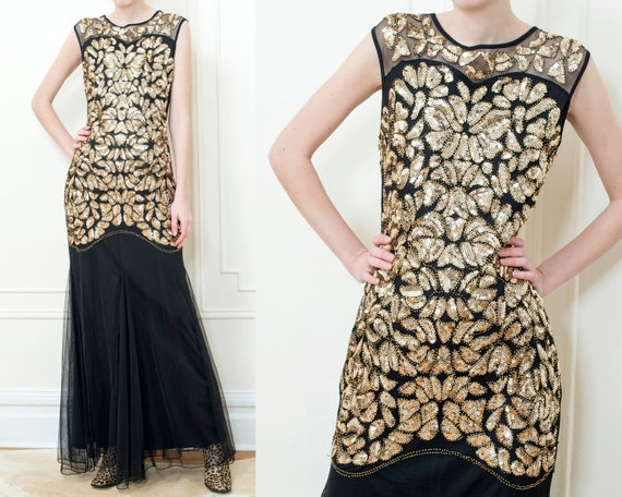 80s gold sequin evening gown | black long tulle pa