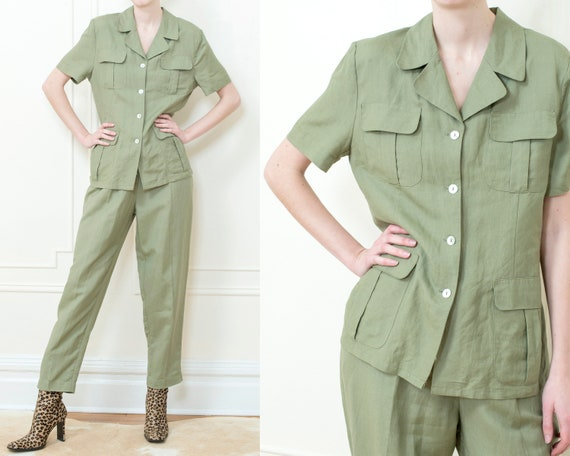 90s sage green safari pant suit   medium 2 piece l