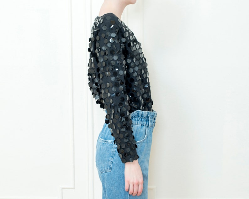 80s black sequin evening blouse oversized sparkly paillette top