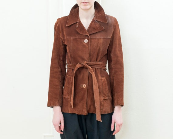 70s brown suede belted jacket | small capelle shor
