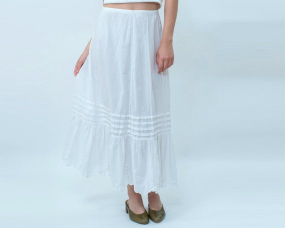 20s white cotton maxi slip skirt medium | edwardia