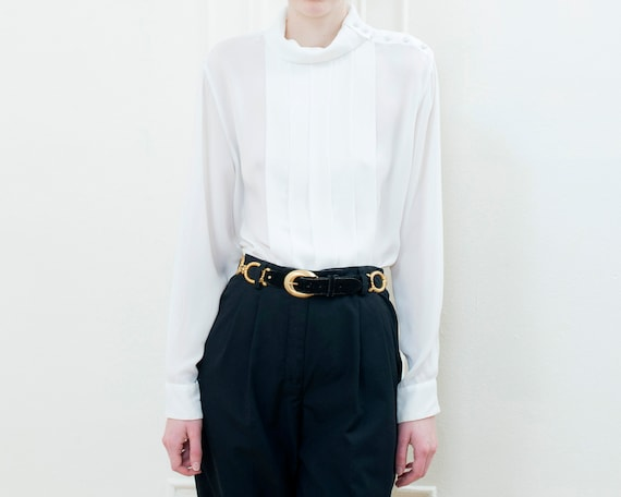 80s white high neck pleated puff sleeve blouse | … - image 2