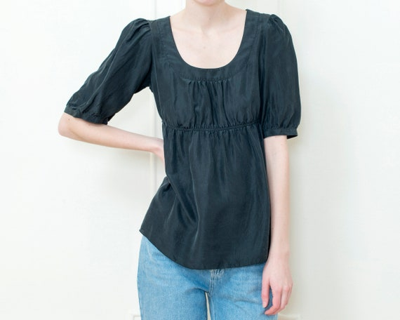 90s black silk puff sleeve blouse | small pouf sle