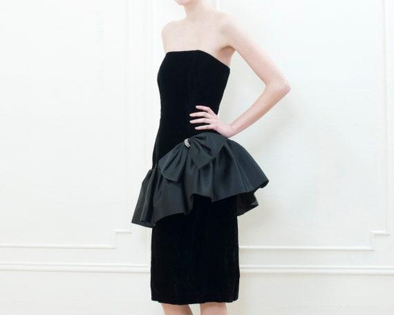 80s black party dress   velvet ruffle peplum cock… - image 4