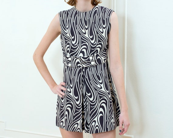 60s black printed mod mini dress | abstract print