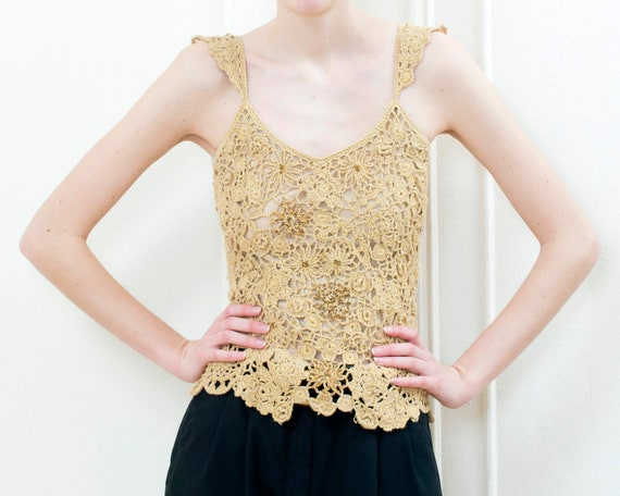 90s gold crochet knit blouse | metallic crochet ev