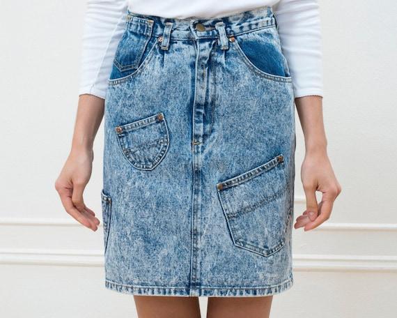 80s acid wash blue denim mini skirt | 25 waist jea