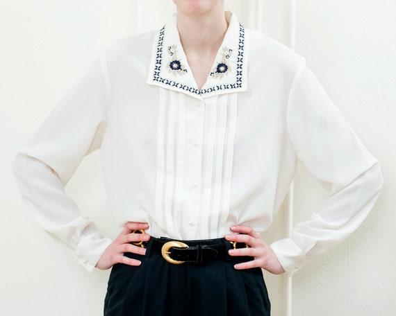 80s white beaded collar trachten blouse | floral e