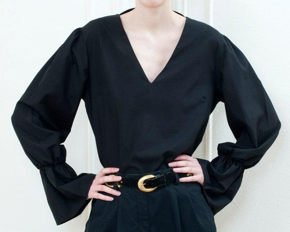 90s black bell puff sleeve blouse | minimalist v … - image 5