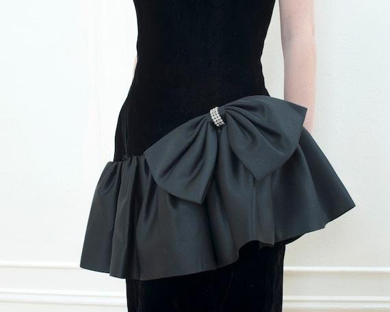 80s black party dress   velvet ruffle peplum cock… - image 2