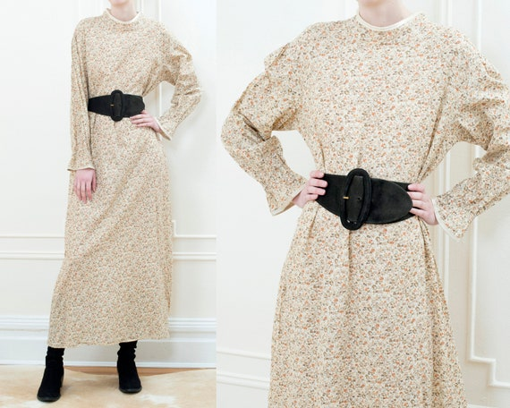 70s beige floral puff sleeve peasant maxi dress |