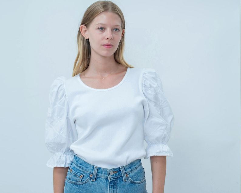folk blouse shirt birkin romantic blouse crochet puffy puff pouf sleeves lace trachten dirndl blouse vintage white puff sleeve shirt