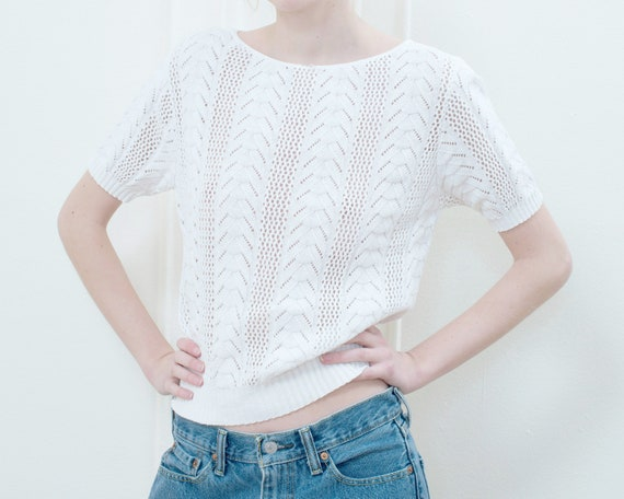 70s white cotton crochet knit top | small crochet