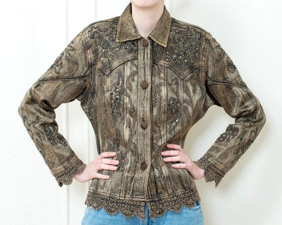 90s gold soutache embroidery jean jacket | metalli