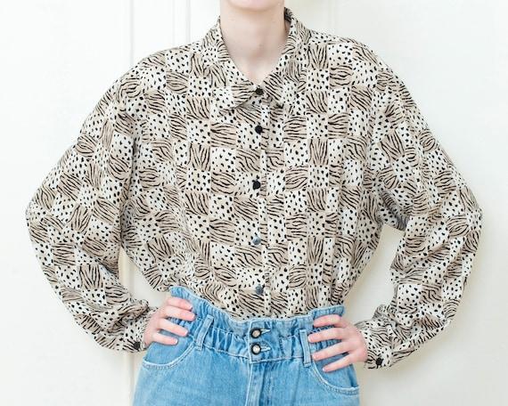 80s brown animal print blouse | oversized geometri