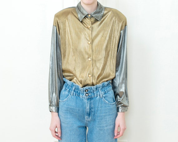 80s gold silver metallic blouse | dramatic shiny d