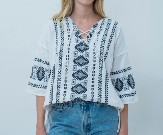 70s black and white cotton hippie blouse | lace up