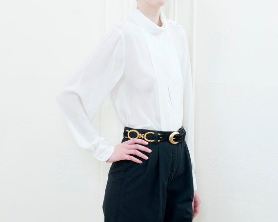 80s white high neck pleated puff sleeve blouse | … - image 3