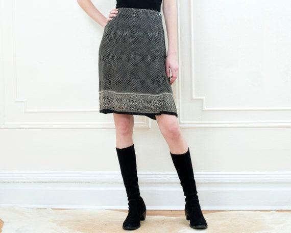 90s black printed wrap skirt | 29 waist wrap aroun