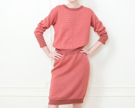 70s pink knit sweater skirt set | salmon 2 piece s